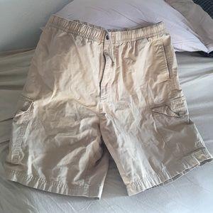 Khaki cargo shorts 36 elastic waist drawstring